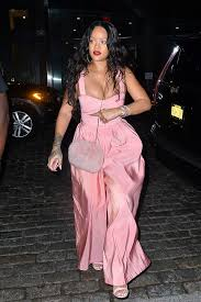 gucci jumpsuit rihanna shines in revealing pink jumpsuit gucci sandals in nyc