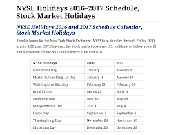 Market Holidays 2016 And 2017 Schedule Calendar Stock Market Holidays The