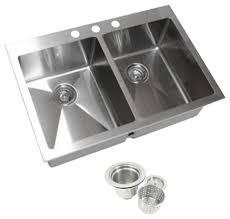 double bowl kitchen sink top mount drop in 304 stainless steel double bowl kitchen sink