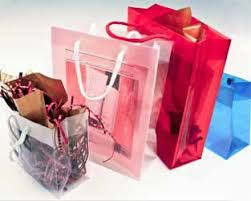 metallic gift bags poly propylene totes rope handle gift bags translucent colors