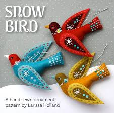 snow bird pdf pattern for a sewn wool felt ornament wool