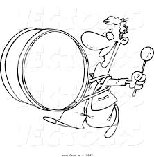 vector of a cartoon happy drummer outlined coloring page by