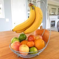 fruit in a basket evelots countertop fruit tree basket bowl stand w banana hanger silv