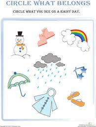 Kindergarten Weather Worksheets Circle What Belongs Rainy Day Seasons Worksheets Weather