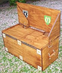 a diy combination trunk and bench or a camping stove stand