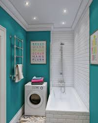 impressive bathroom with laundry room decoration using turquoise
