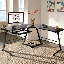 best choice s l shape computer desk workstation w tempered glass top tower stand black com