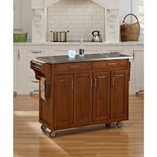 home styles create a cart warm oak kitchen cart with stainless top
