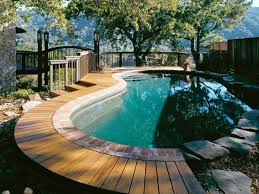 outdoor beautiful design above ground swimming pools with decks