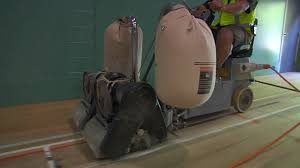 Lagler Hummel Floor Sander by Floor Sanding With Ride On Floor Sander Gym Floor Youtube