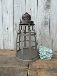 large metal rustic lantern beach railroad decor centerpiece