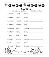 spelling test template fill in the blank vocabulary worksheet