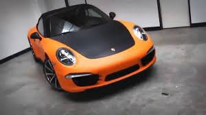 porsche wrapped matte orange and black carbon fiber porsche wrap u2013 aftermarket blog