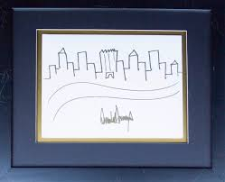 a manhattan skyline sketch by trump sells at auction for 29 000