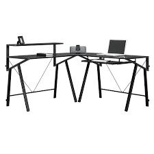 Black Glass L Shaped Desk Shop Sauder Vector Black Glass L Shaped Desk At Lowes