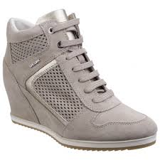 geox womens boots uk geox illusion b suede wedge heeled trainer shoes taupe shuperb