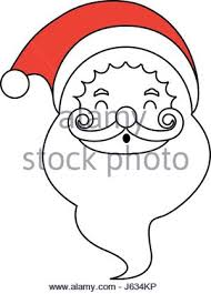 silhouette santa claus face christmas hat shadow