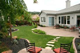 exterior elegant green grass flooring garden with brown