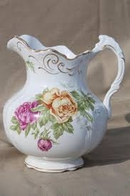 pitcher of roses antique buffalo china pitcher large wash pitcher or jug w cabbage