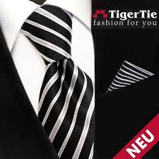 designer krawatten set tigertie designer krawatte einstecktuch schwarz grau silber
