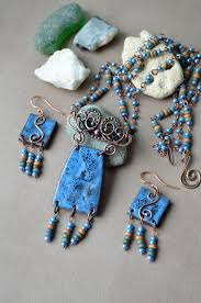 boho necklace set images Sea blue ceramic necklace gypsy jewelry bohemian jewelry set jpg