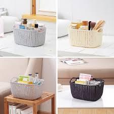 bathroom boxes baskets plastic weaving storage basket imitation rattan storage box for