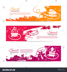 set modern bakery banners cupcakes menu stock vector 142628596