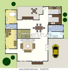 floor plan lay out ground floor plan floorplan house home stock vector 74222734