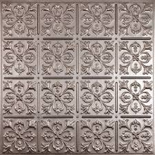 Decorative Metal Sheets Home Depot by Ceilume Fleur De Lis Faux Tin 2 Ft X 2 Ft Lay In Or Glue Up