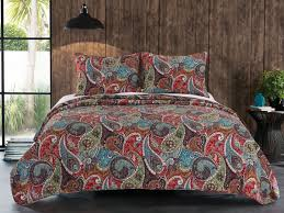 red blue green paisley bedding twin full queen king quilt set