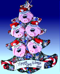 pig tree ornament pig santa and elves personalized