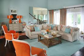 orange livingroom ideas in applying blue and orange living rooms homes network