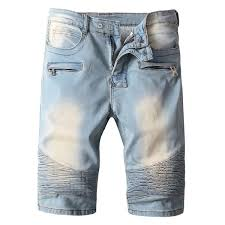 light wash denim shorts wholesale zipper pocket ribbed panels light wash denim shorts in