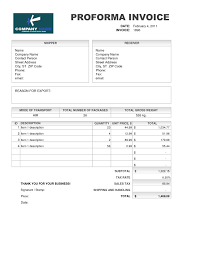 example of a invoice sample of proforma invoice for export invoice template ideas