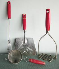 Kitchen Utensils Red - vintage red handle kitchen tools instant collection spatula masher