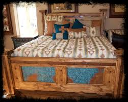 log beds pine furniture king pine bed with turquoise copper