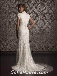 sheath column high neck sweep train modest lace wedding dress