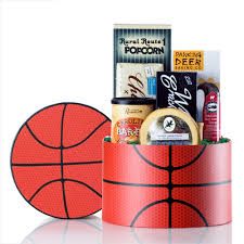 basketball gift basket team colors sports gift basket with team ribbon colors