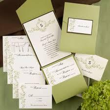 pocket wedding invitations the purple mermaid monogram mocha and olive pocket wedding