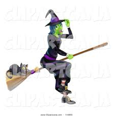 cartoon clip art of a green halloween witch touching her hat and