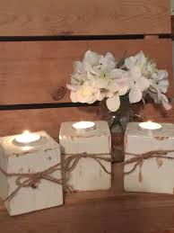 Shabby Chic Wedding Decoration Ideas by Handmade Wooden Candle Holders Wood Block Candle Holder Shabby
