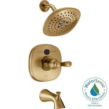 delta temp2o transitional single handle tub and shower faucet trim delta temp2o transitional single handle tub and shower faucet trim kit in champagne bronze valve not included t14403 czt2o the home depot
