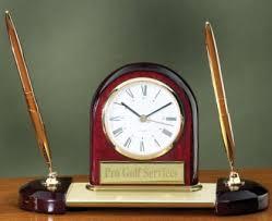 Wood Desk Clock Wood And Goldtone Metal Pen Set With Clock Desk Clock U0026 Pen Sets