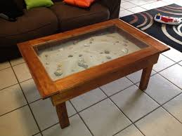 glass top display coffee table coffee table display coffee table cabinet filled with sea sand and