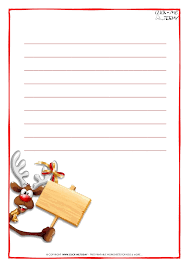 letter to santa claus paper template with lines reindeer 12