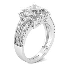 cubic zirconia halo engagement rings 3 sterling silver 1 25 ct princess cut white cz cubic