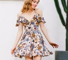 summer dress shoulder women floral print party summer dress pricesolution4u