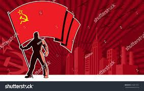 Holding The Flag Flag Bearer Holding Flag Ussr Over Stock Vektorgrafik 373811701