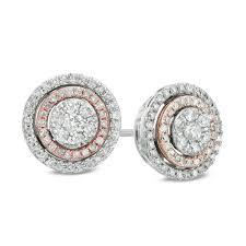 diamond earring studs 1 2 ct t w diamond cluster frame stud earrings in 10k two