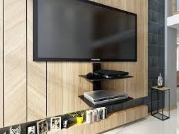 Tv Wall Mount With Shelf For Cable Box Black 2 Tier Adjustable Wall Mount Glass Floating Av Dvd
